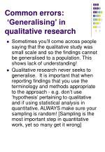 common errors generalising in qualitative research