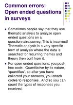 common errors open ended questions in surveys