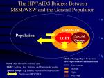 the hiv aids bridges between msm wsw and the general population