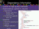 dependency information