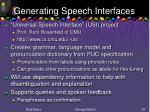 generating speech interfaces