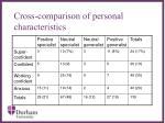 cross comparison of personal characteristics