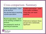 cross comparison summary