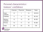 personal characteristics trainees confidence