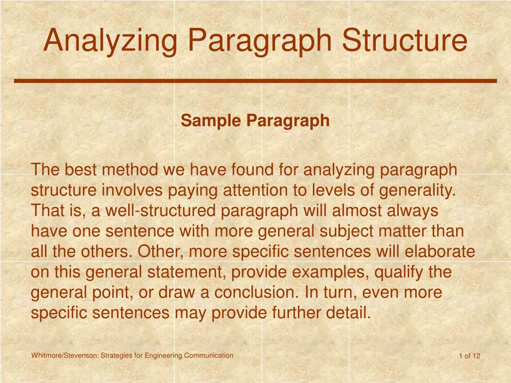 analyzing paragraph structure l.