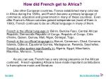 how did french get to africa