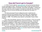 how did french get to canada