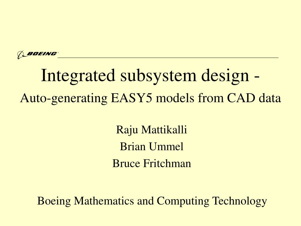 integrated subsystem design auto generating easy5 models from cad data l.
