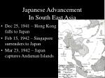 japanese advancement in south east asia