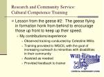 research and community service cultural competence training