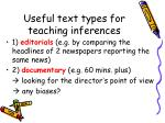 useful text types for teaching inferences