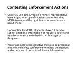 contesting enforcement actions