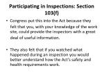 participating in inspections section 103 f16
