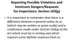 reporting possible violations and imminent dangers requests for inspections section 103 g