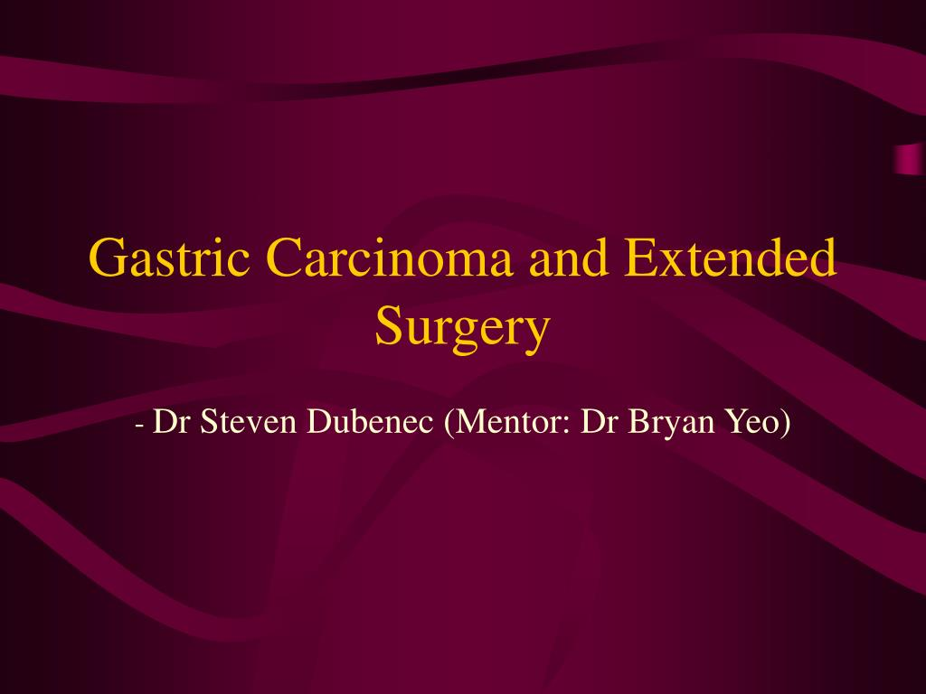 gastric carcinoma and extended surgery l.