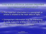 what is the difference between important and unimportant information