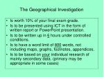 the geographical investigation