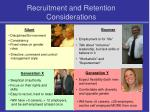 recruitment and retention considerations