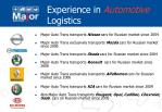 experience in automotive logistics