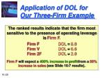 application of dol for our three firm example29