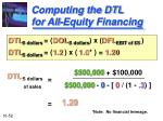 computing the dtl for all equity financing
