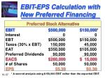 ebit eps calculation with new preferred financing