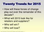 twenty trends for 2015