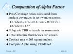 computation of alpha factor