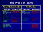 the types of teams