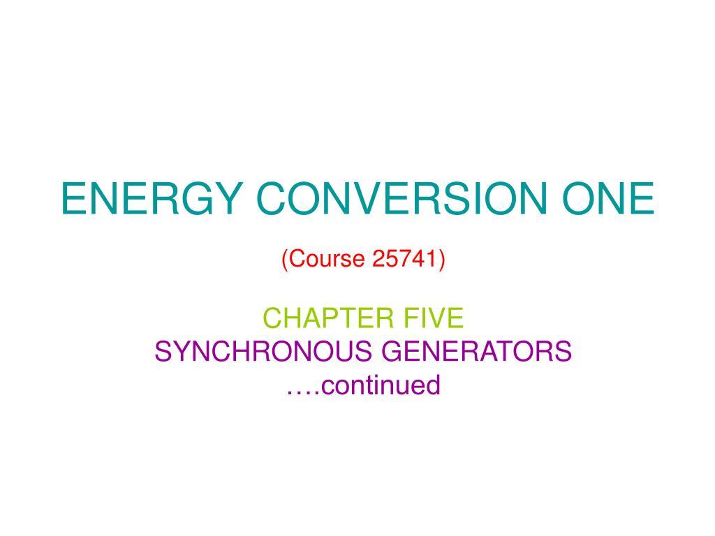 energy conversion one course 25741 l.