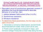 synchronous generators measurement of model parameters