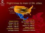 flight times to main u sa cities
