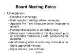 board meeting roles