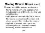 meeting minutes basics cont