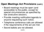 open meetings act provisions cont