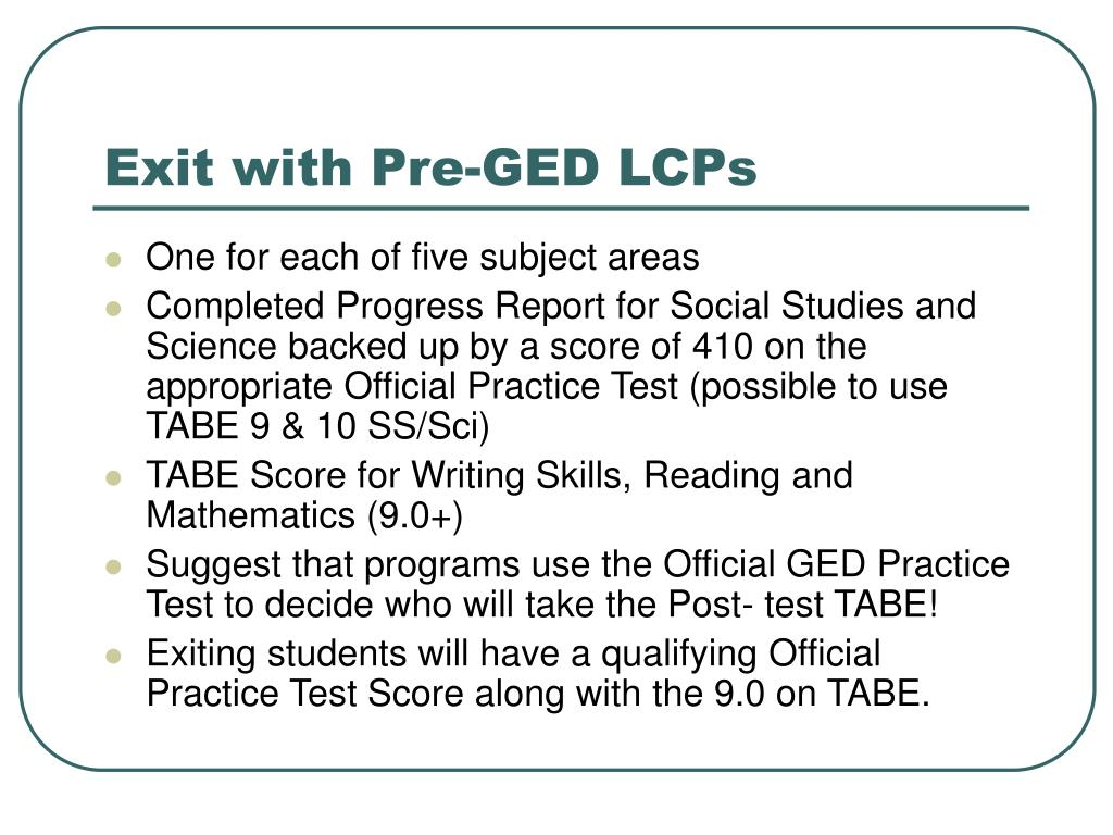 Exit with Pre-GED LCPs