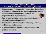 welfare state decline causes evidence and consequences