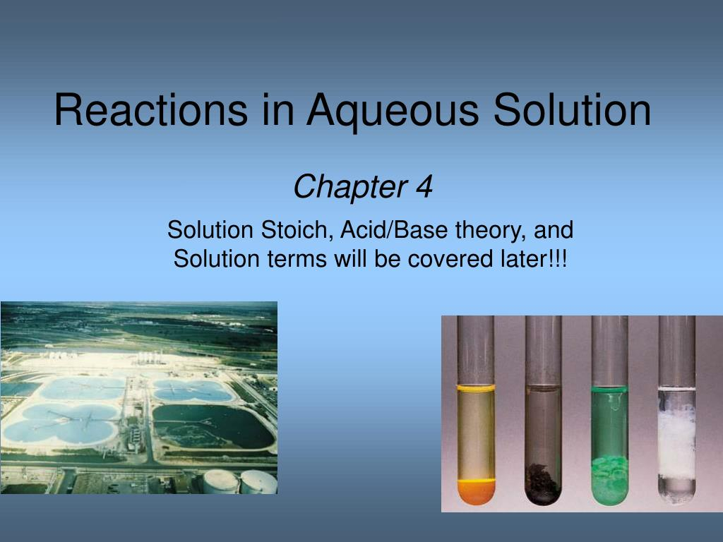 reactions in aqueous solution l.