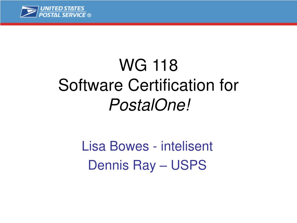 wg 118 software certification for postalone l.