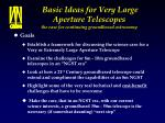 basic ideas for very large aperture telescopes the case for continuing groundbased astronomy4