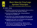 basic ideas for very large aperture telescopes the case for continuing groundbased astronomy45