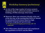 workshop summary preliminary