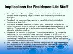 implications for residence life staff