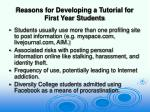 reasons for developing a tutorial for first year students