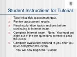 student instructions for tutorial