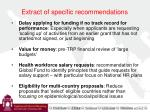 extract of specific recommendations