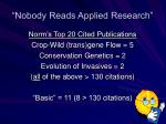 nobody reads applied research