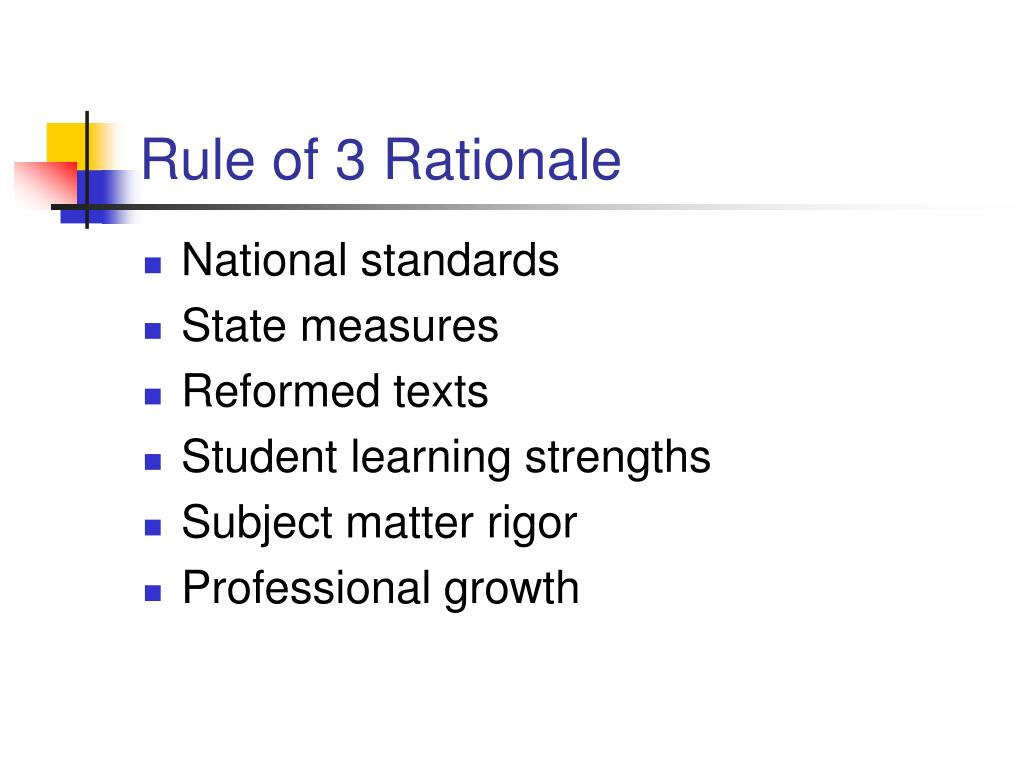 Rule of 3 Rationale