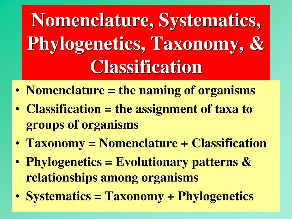 Nomenclature, Systematics,