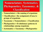 nomenclature systematics phylogenetics taxonomy classification